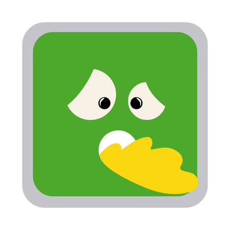diseased: square colorful shape emoticon sick expression vector illustration