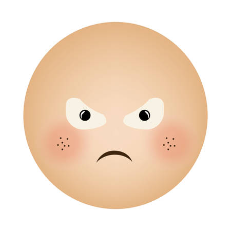 human face emoticon furious expression vector illustration