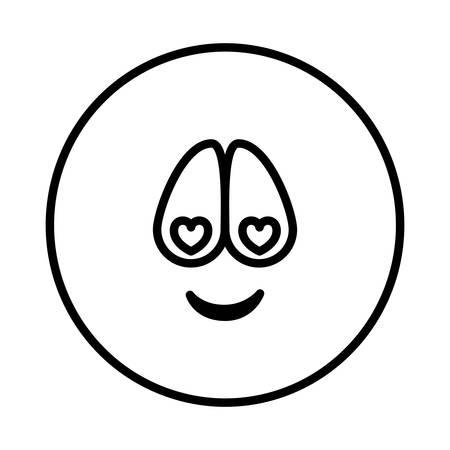 silueta emoticon encantado cara expresión ilustración vectorial