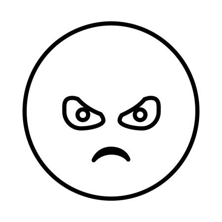 silhouette emoticon face furious expression vector illustration Illustration
