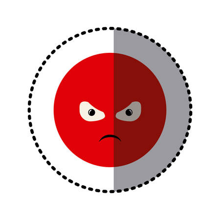 sticker colorful emoticon furious face expression vector illustration