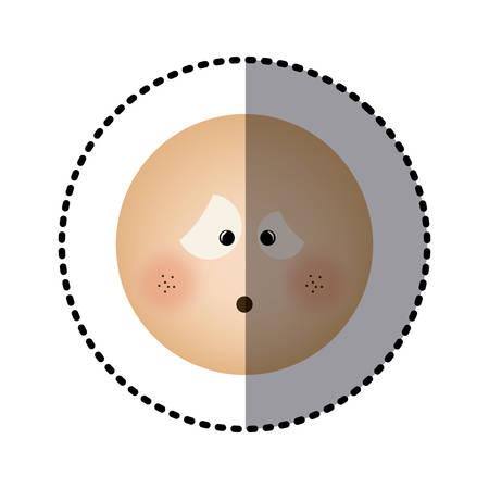 sticker human face emoticon confused expression vector illustration Illustration