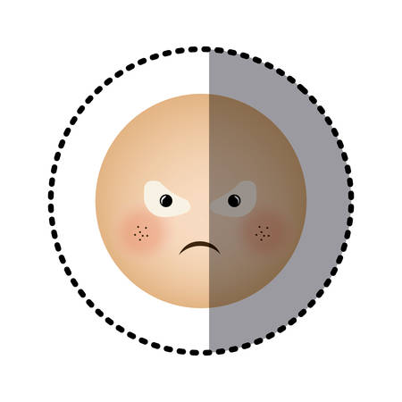 sticker human face emoticon furious expression vector illustration