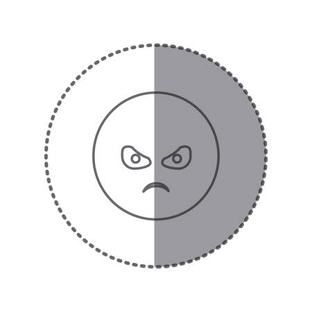 sticker silhouette emoticon face furious expression vector illustration Illustration