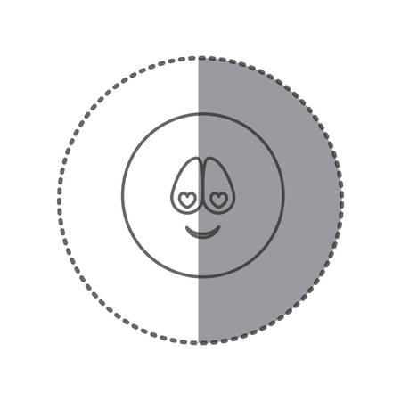 etiqueta engomada silueta emoticon encantado cara expresión ilustración vectorial