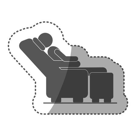 Aufkleber schwarz Silhouette Piktogramm männlich sitzen in Liegestuhl Vektor-Illustration Standard-Bild - 75420421