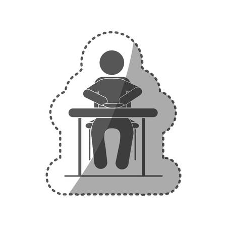 sticker black silhouette pictogram sitting in table with dish vector illustration Illustration