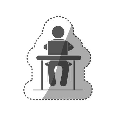 using laptop: sticker black silhouette pictogram sitting in desk with computer vector illustration