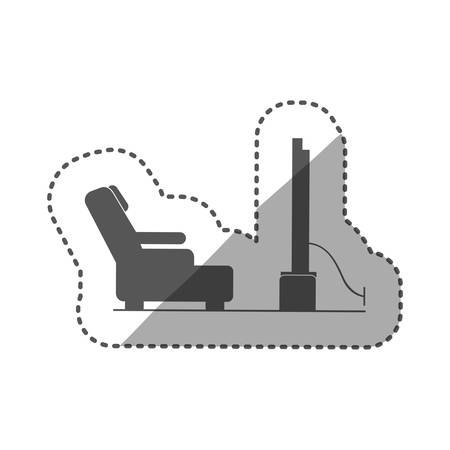 cinema screen: sticker black silhouette television room with reclining chair vector illustration