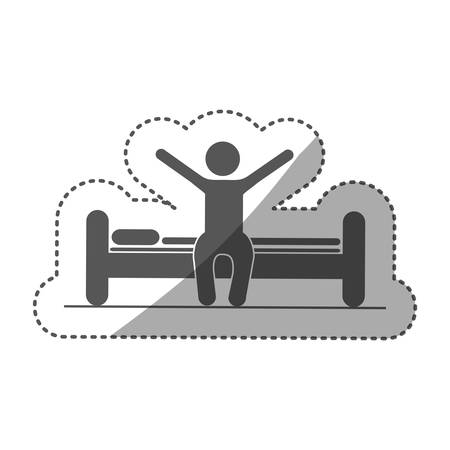 sticker monochrome silhouette pictogram person in bed waking up vector illustration
