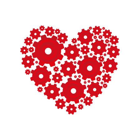 forme de coeur rouge avec pignons et engrenages ensemble illustration vectorielle de collection
