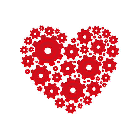red heart shape with pinions and gears set collection vector illustration Illustration