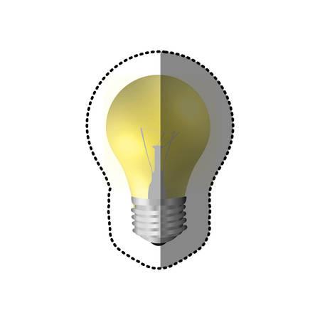 sticker realistic modern light bulb on vector illustration