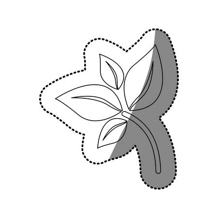 sticker silhouette of branch with leaves icon flat vector illustration