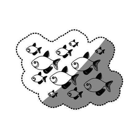 koi: sticker silhouette set collection fish aquatic animal vector illustration