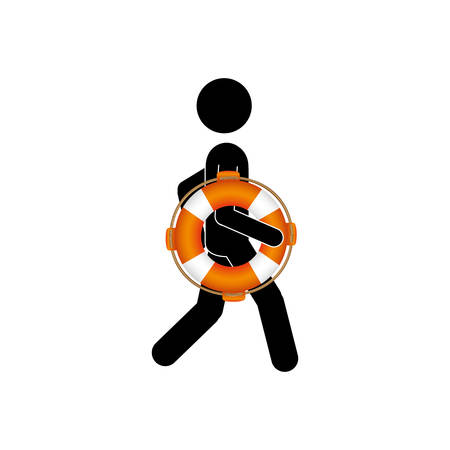 flotation: Black silhouette pictogram male with lifeguard float vector illustration.