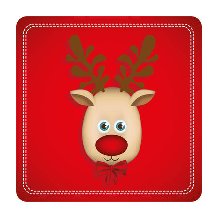 wild venison: Colorful square frame with christmas reindeer face vector illustration.