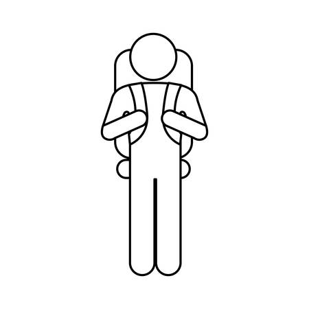 Silhouette pictogram male with parachute vector illustration.