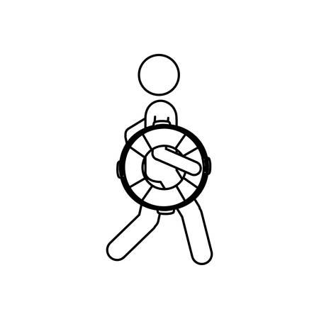 security guard man: Silhouette pictogram male with lifeguard float vector illustration.