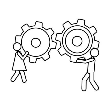cogwheel: Silhouette pictogram man and woman holding a pinions vector illustration.