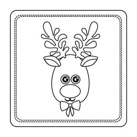 wild venison: Sketch silhouette square frame with christmas reindeer face vector illustration.