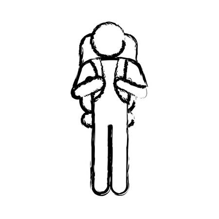 Blurred silhouette pictogram male with parachute vector illustration.