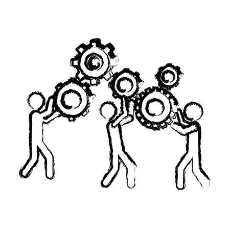 Gens de pictogramme silhouette floue et illustration de vecteur de progrès de l'industrie.