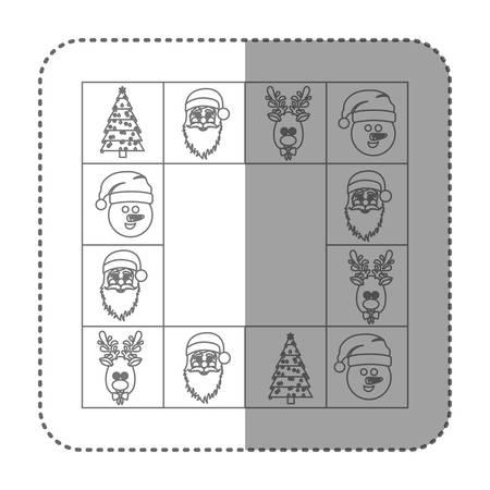 claus: sticker sketch silhouette square christmas frame decorative vector illustration Illustration
