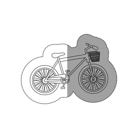 sticker contour of bike of girl with basket vector illustration