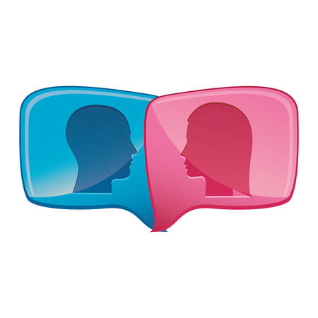 between: colorful relief rectangular speech with dialogue between man and woman vector illustration Illustration