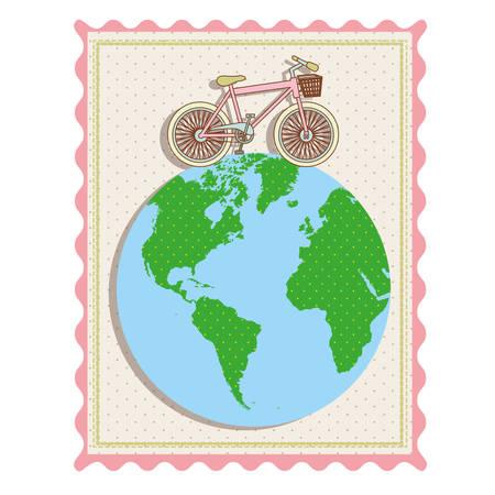 自転車で世界地図のベクター イラストと色パステル フレーム