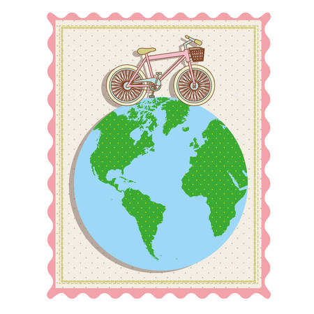 color pastel frame with bicycle over the world map vector illustration