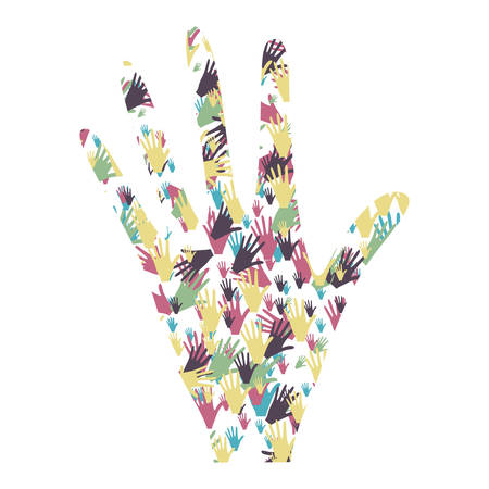 main gauche colorée formée par modèle de mains vector illustration Vecteurs