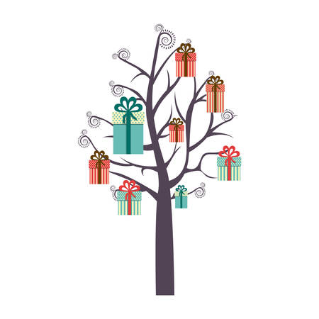 colorful background with tree with gift boxes hanging of the branches vector illustration