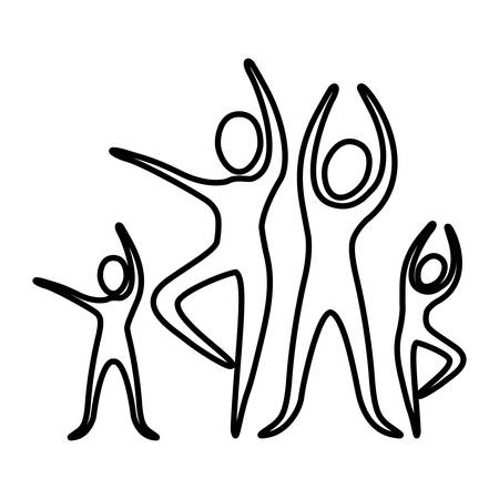 monochrome contour pictogram of practice of ballet poses vector illustration