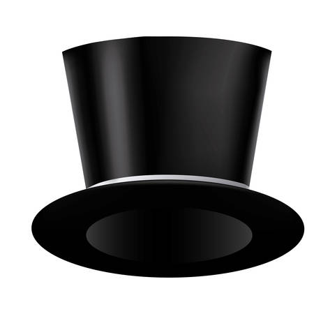 silhouette of realistic black hat with ribbon vector illustration
