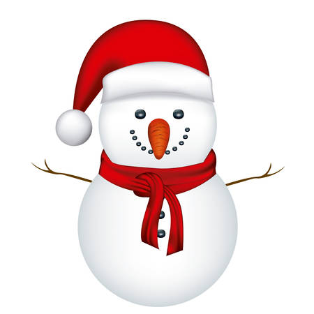 red nose: snowman with red hat and scarf in white background vector illustration