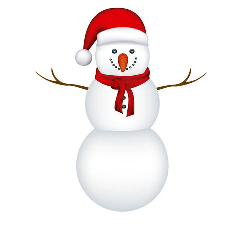 robo: big snowman with red hat and scarf in white background vector illustration