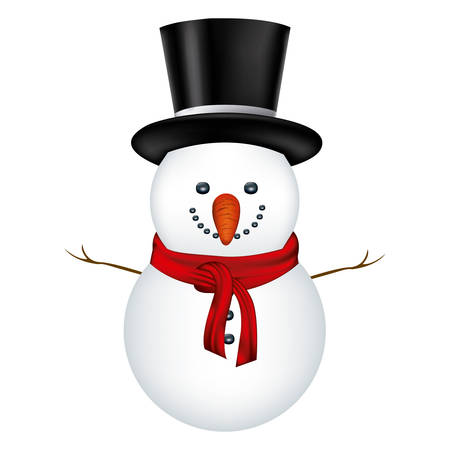 snowman with black hat and scarf in white background vector illustration Illustration