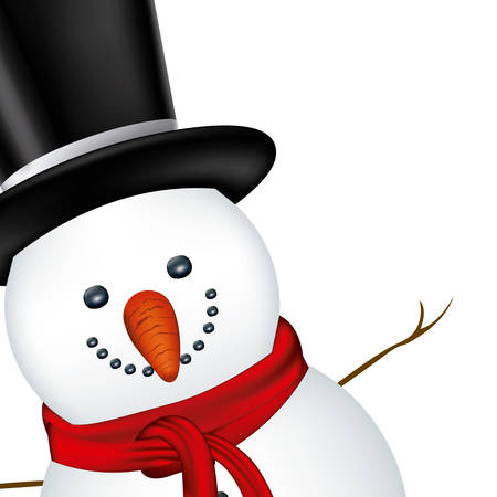 robo: snowman face with black hat and scarf vector illustration