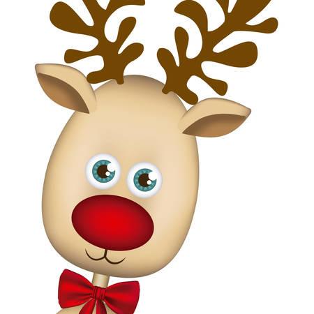 wild venison: color background of christmas reindeer face vector illustration