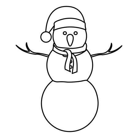 monochrome contour of big snowman with christmas hat and scarf vector illustration Illustration