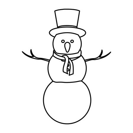 monochrome contour of big snowman with top hat and scarf vector illustration