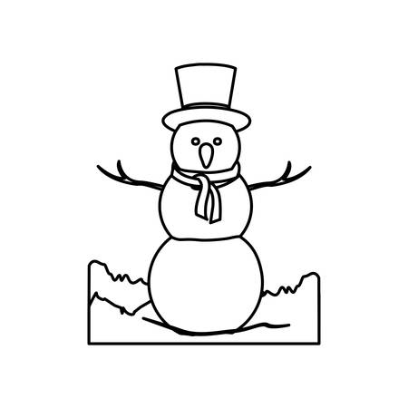 monochrome contour landscape with big snowman with hat and scarf vector illustration