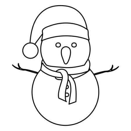 robo: Contorno monocromo de muñeco de nieve con sombrero de Navidad y bufanda ilustración vectorial Vectores