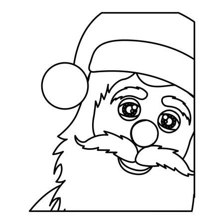 monochrome contour of santa claus face vector illustration Illustration