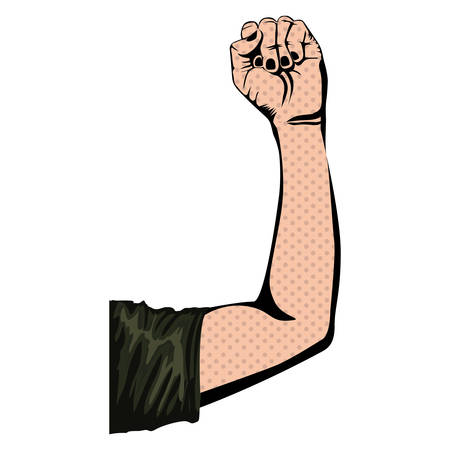 silhouette with arm up with closed fist vector illustration