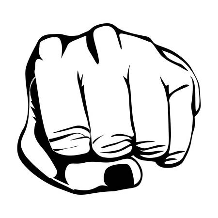 gesturing: monochrome contour of left hand and front fist vector illustration