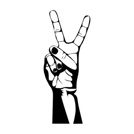 monochrome contour of hand with two fingers symbol vector illustration