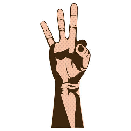 silhouette skin color hand with three fingers symbol vector illustration Illustration